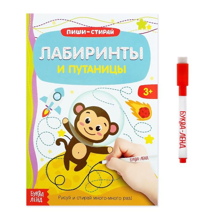 Многоразовая книжка с маркером «Лабиринты и путаницы», 12 стр.