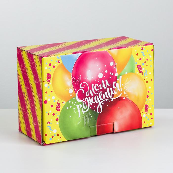 Коробка‒пенал «Яркий День Рождения», 22 × 15 × 10 см