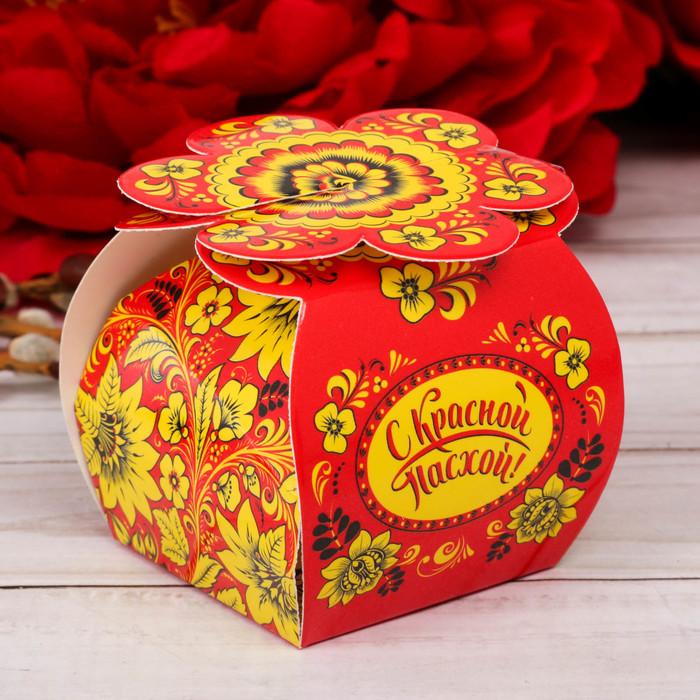 Пасхальная коробочка для яйца «Хохлома», 6 см×6 см×7.3 см