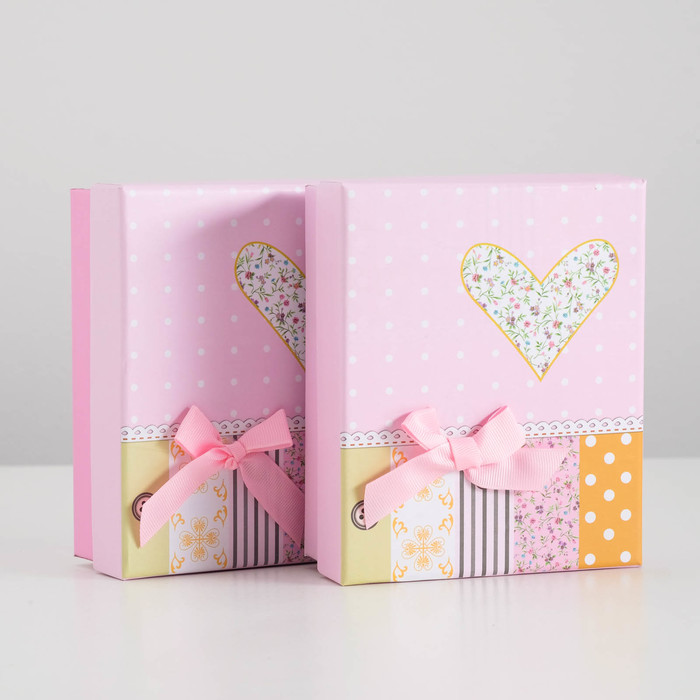 """Коробка подарочная """"Сердце"""", розовый, 14 х 12 х 5.5 см"""