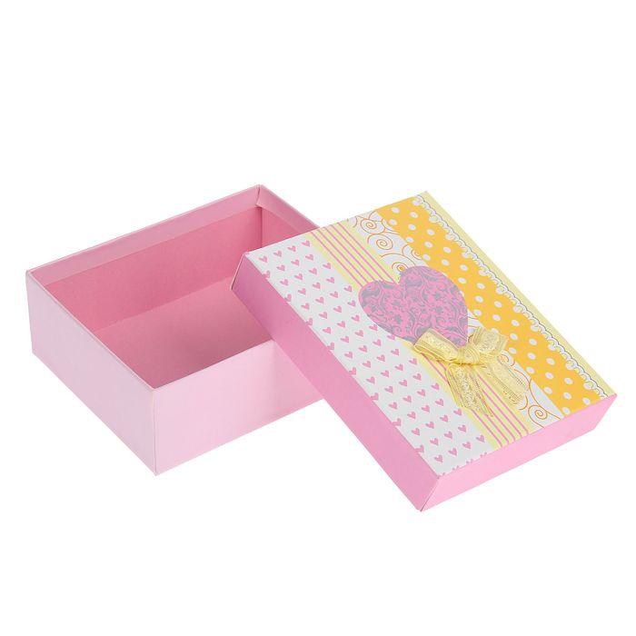 """Коробка подарочная """"Сердце"""" 14 х 12 х 5,5 см, розовая"""