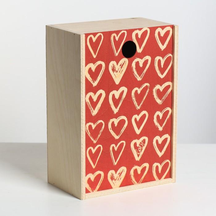 Ящик подарочный деревянный «Сердца», 20 × 30 × 12 см