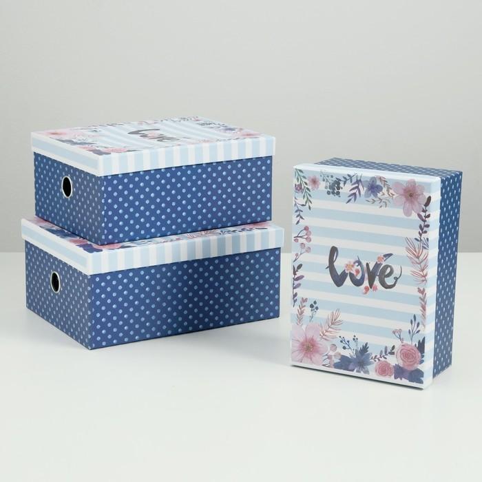 "Набор коробок 3 в 1 ""Любовь"", 28.5 х 21.5 х 12.5 - 24.5 х 17.5 х 10.5 см"