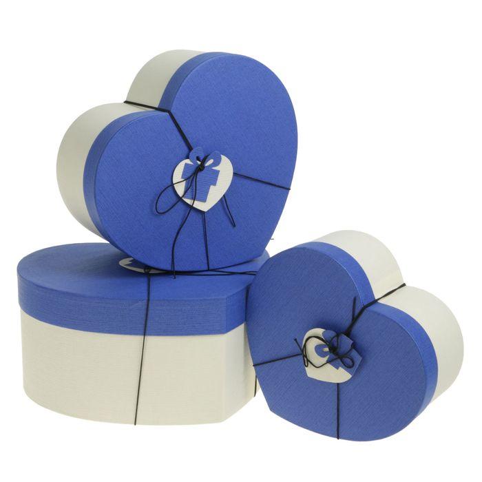 """Набор коробок 3 в 1 """"Сердце"""", синий, 30 х 28 х 14 - 22 х 20 х 10 см"""