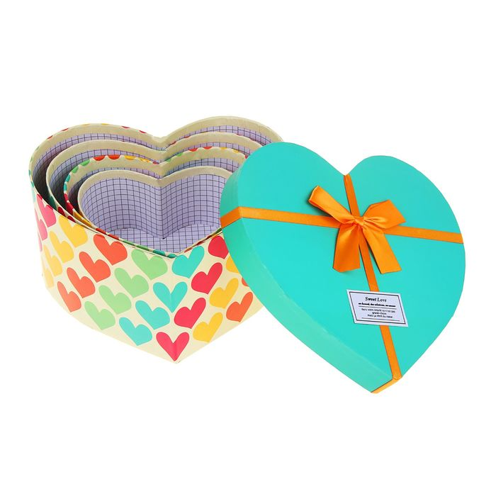 """Набор коробок 4 в 1 """"Сердце"""", 23,5 х 22 х 11,5 - 14 х 14,5 х 7,5 см"""