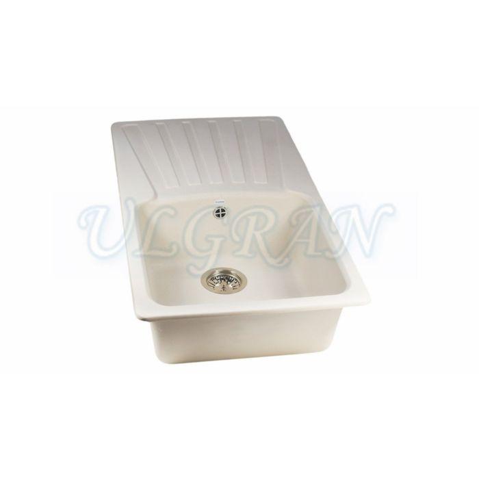 Мойка кухонная Ulgran U203-331, 830х480 мм, цвет белый