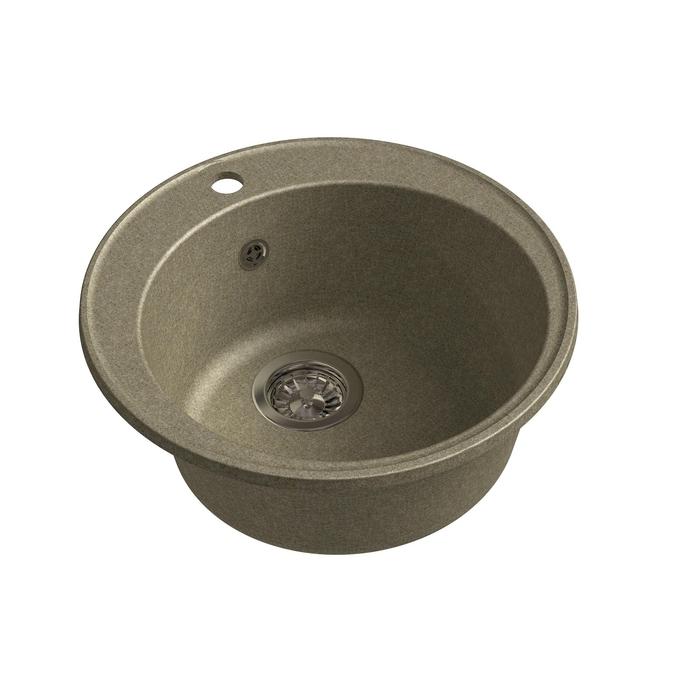 Мойка кухонная из камня Granfest ECO-08, d=480 мм, цвет песочный