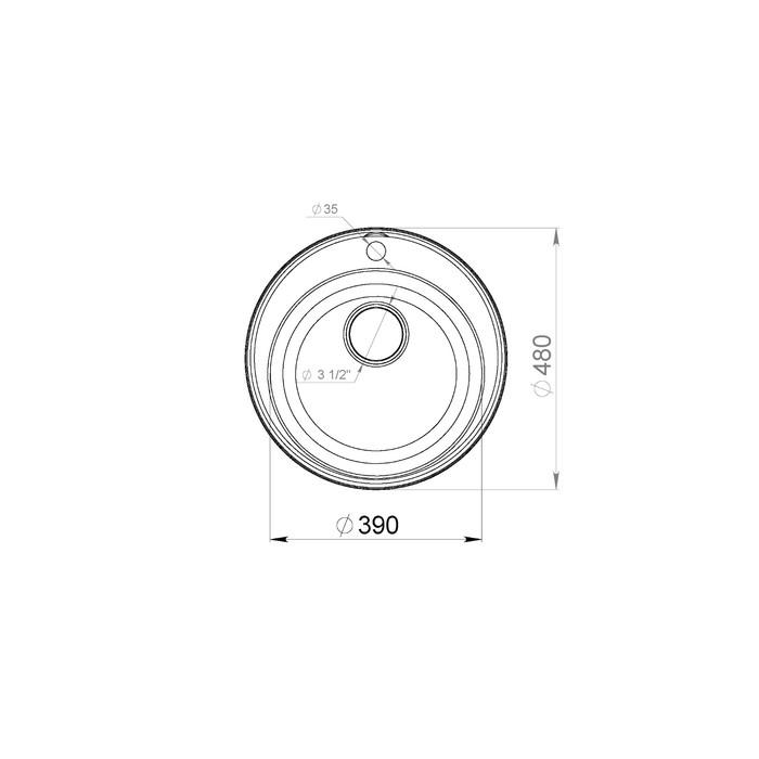 Мойка кухонная из камня Granfest ECO-08, d=480 мм, цвет чёрный