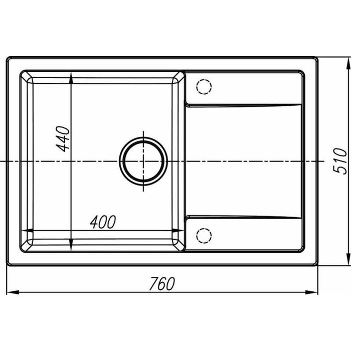 Мойка кухонная из камня Dr.Gans «Техно-760 T760», 760х510 мм, цвет латте