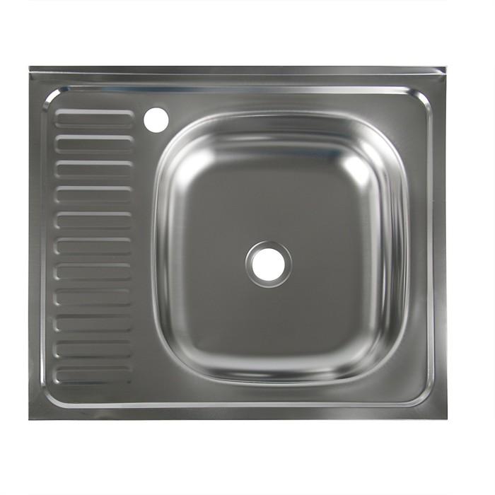 """Мойка кухонная """"Владикс"""", накладная, без сифона, 60х50 см, правая, нержавеющая сталь 0.4 мм"""