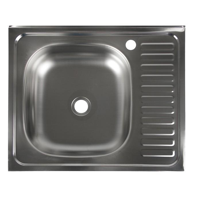 """Мойка кухонная """"Владикс"""", накладная, без сифона, 60х50 см, левая, нержавеющая сталь 0.4 мм"""