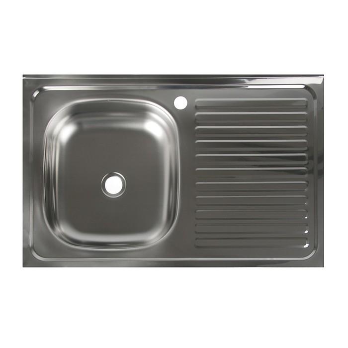 """Мойка кухонная """"Владикс"""", накладная, без сифона, 50х80 см, левая, нержавеющая сталь 0.4 мм"""