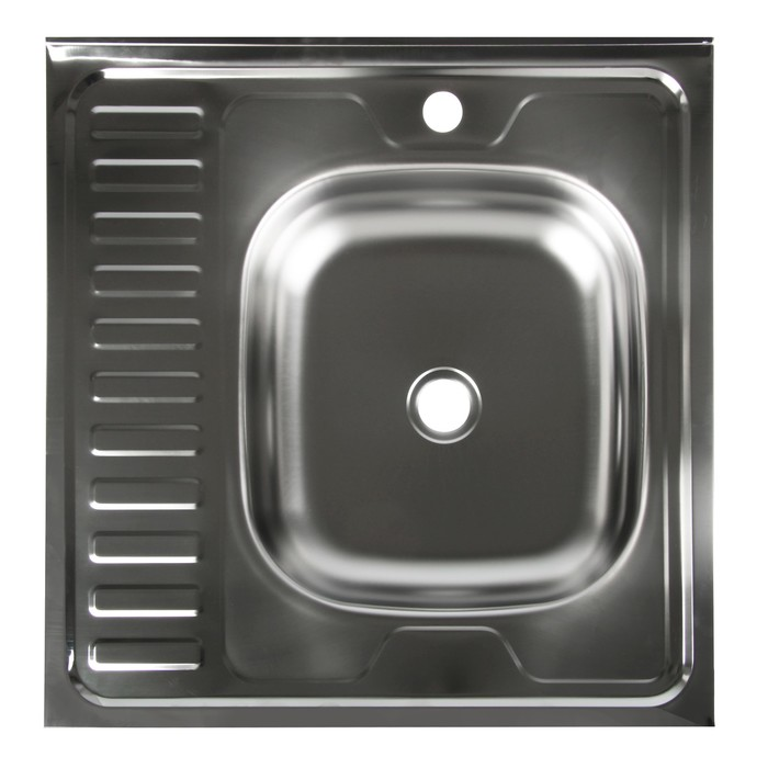 """Мойка кухонная """"Владикс"""", накладная, без сифона, 60х60 см, правая, нержавеющая сталь 0.4 мм"""