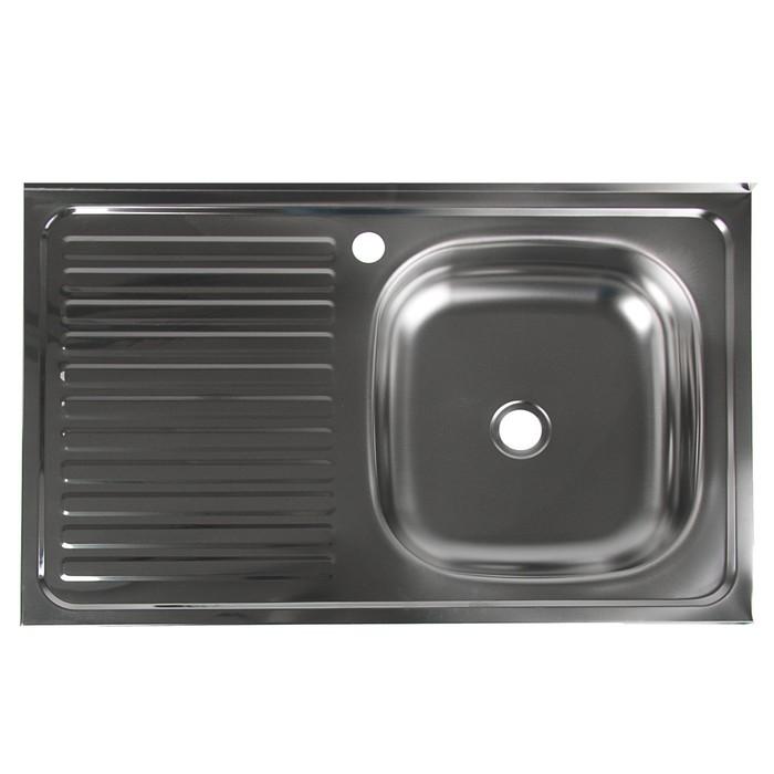 """Мойка кухонная """"Владикс"""", накладная, без сифона, 50х80 см, правая, нержавеющая сталь 0.4 мм"""