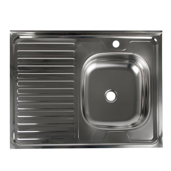 """Мойка кухонная """"Владикс"""", накладная, без сифона, 60х80 см, правая, нержавеющая сталь 0.4 мм"""
