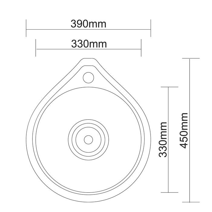 Мойка кухонная Accoona AB4539, врезная, круглая, толщина 0.6 мм, 450х390х165 мм, глянец