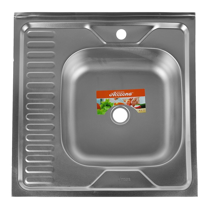 Мойка кухонная Accoona AD6060-R, накладная, правая, толщина 0.4 мм, 600х600х140 мм, матовая