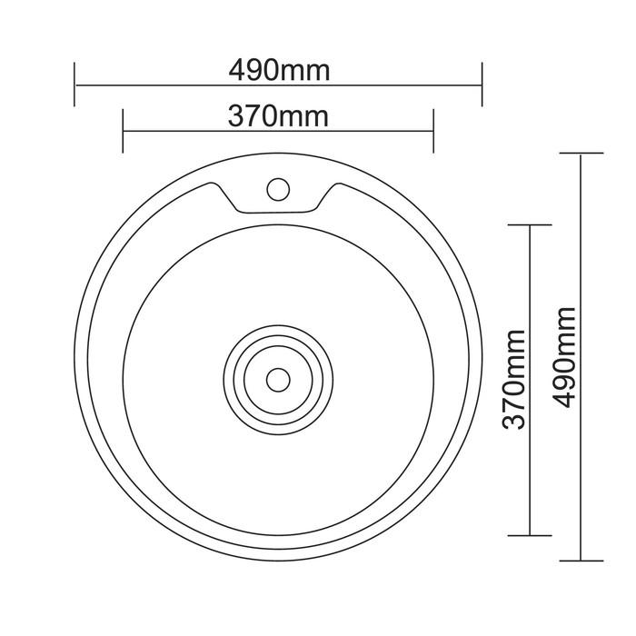 Мойка кухонная Accoona AC4949, врезная, круглая, толщина 0.6 мм, 490х165 мм, декор