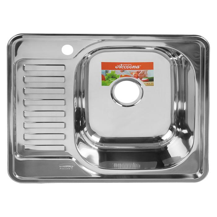 Мойка кухонная Accoona AB4858-R, накладная, правая, толщина 0.6 мм, 580х480х165 мм, глянец