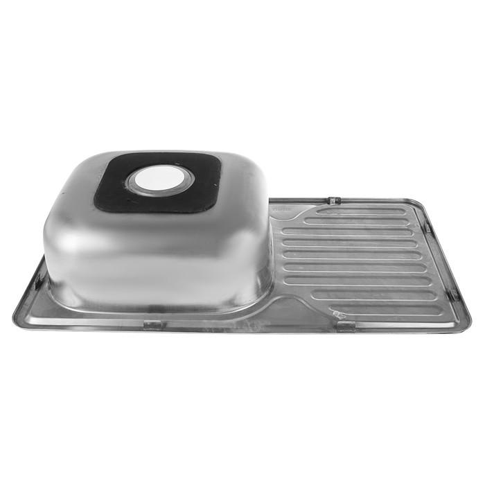 Мойка кухонная Accoona AB4276, врезная, толщина 0.6 мм, 760х420х165 мм, глянец