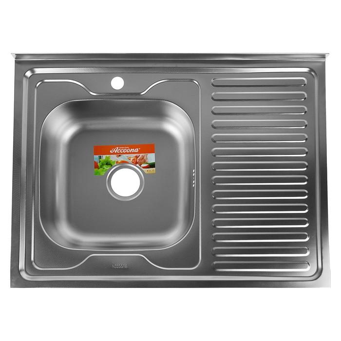 Мойка кухонная Accoona AC6080-L, накладная, левая, толщина 0.6 мм, 800х600х165 мм, декор