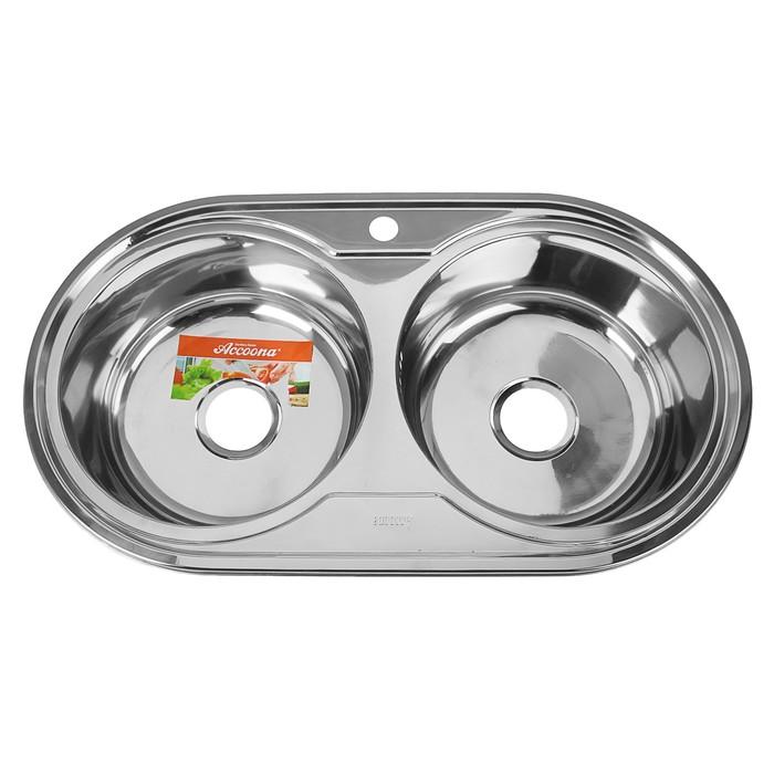 Мойка кухонная Accoona AB4479B, врезная, двойная, толщина 0.6 мм, 790х440х165 мм, глянец