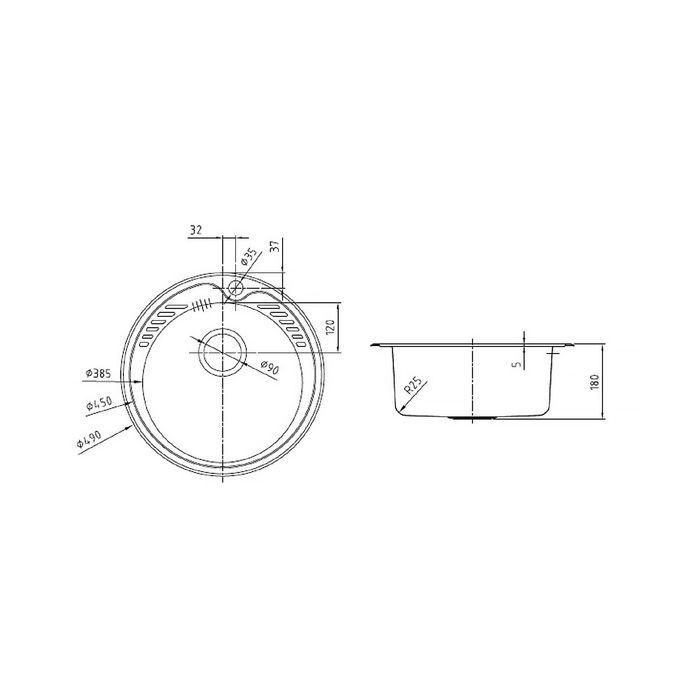 Мойка для кухни IDDIS Suno S, SUN49S0i77, шелк, d=490 мм