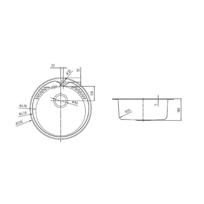 Мойка для кухни IDDIS Suno S, SUN51S0i77, шелк, d=510 мм
