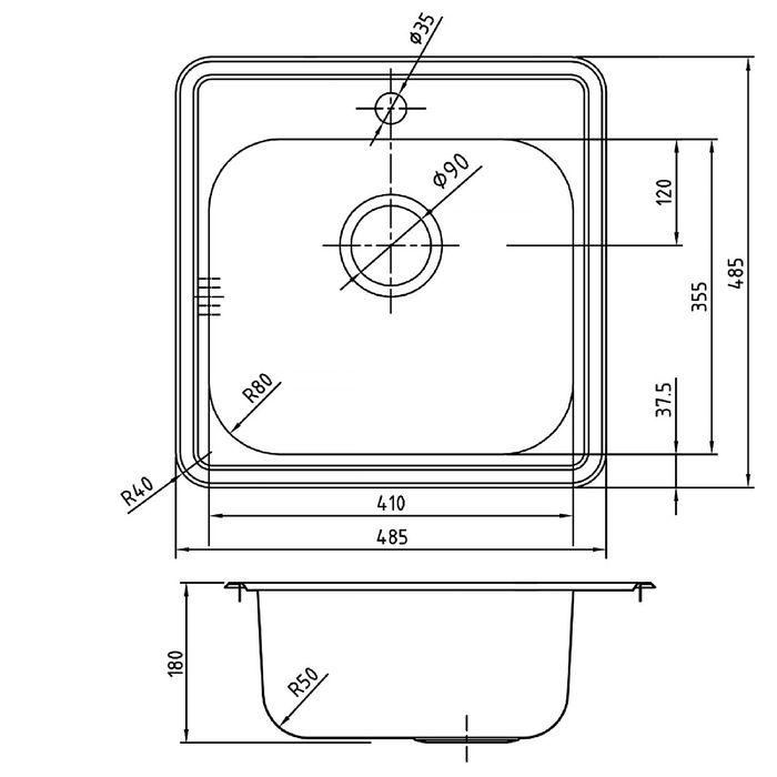 Мойка для кухни IDDIS Strit S, STR48S0i77, 480х480 мм