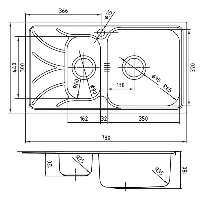 Мойка для кухни IDDIS  Arro S, ARR78PZi77, полированная, чаша справа, 780х440 мм