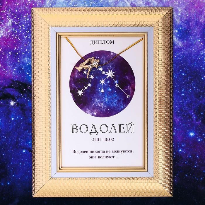 """Подарочный набор диплом и брошь знаки зодиака """"Водолей"""""""