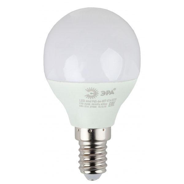 Светодиодная лампа ЭРА ECO LED Р45-6W-827-E14
