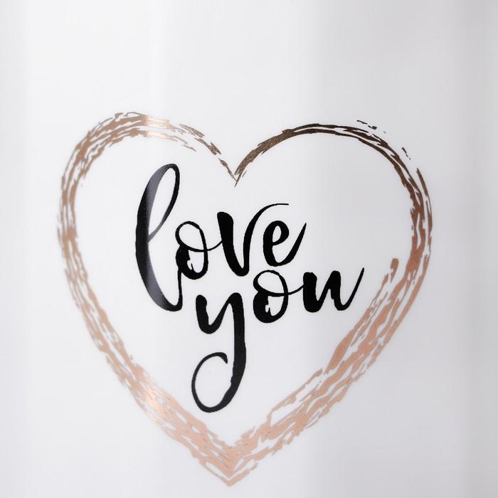 """Кружка 400 мл """"Люблю тебя"""", с керамической крышкой и ложкой, рисунок МИКС"""