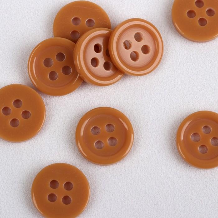 Пуговица, 4 прокола, d = 10 мм, цвет песочный
