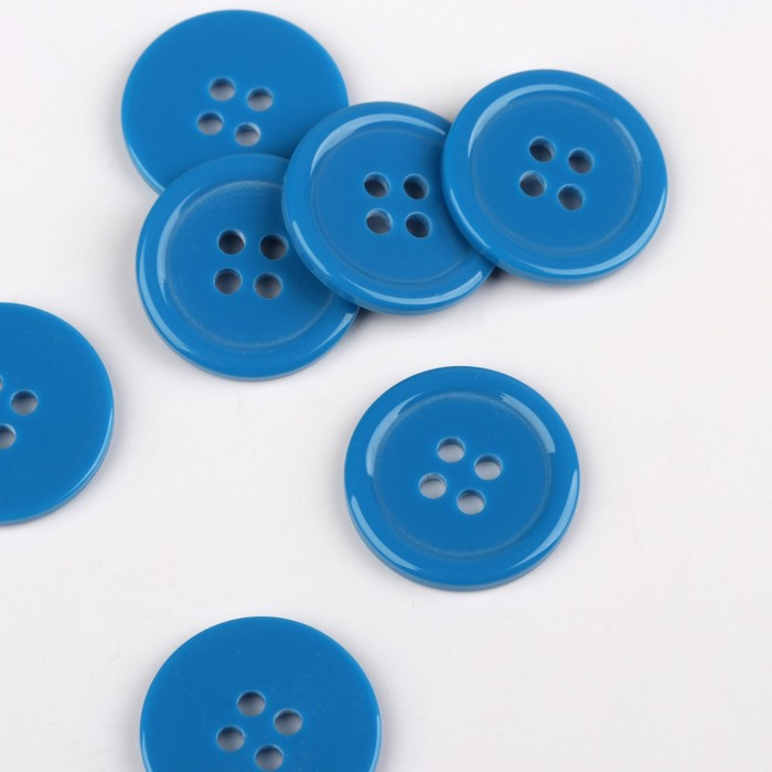 Пуговица, 4 прокола, d = 20 мм, цвет синий
