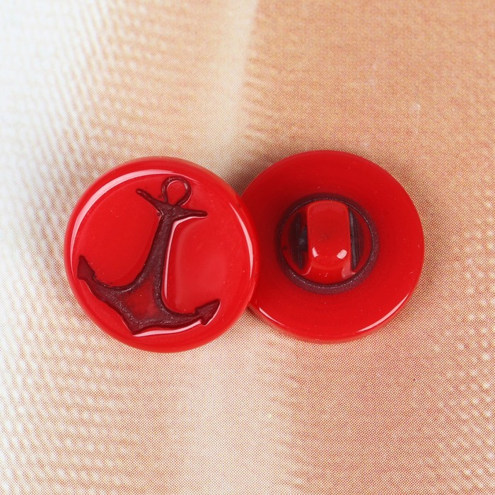 Пуговица детская «Якорь», на ножке, цвет красный