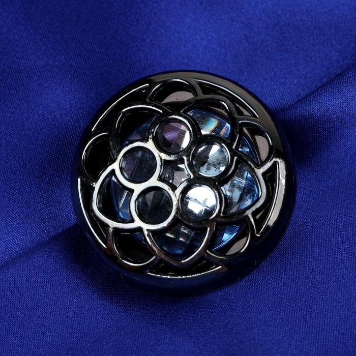 Пуговица декоративная «Цветок», d = 38 мм, цвет чёрный