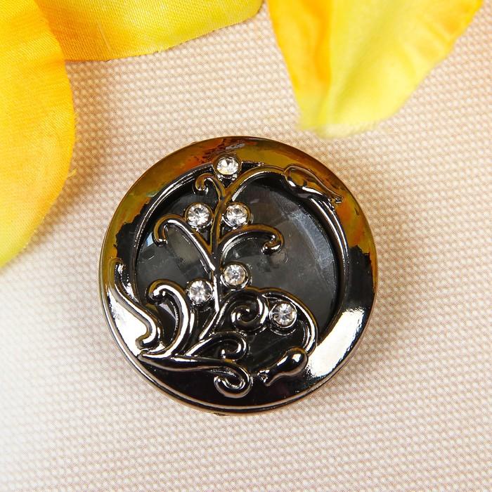 Пуговица декоративная, d = 34 мм, цвет чёрный