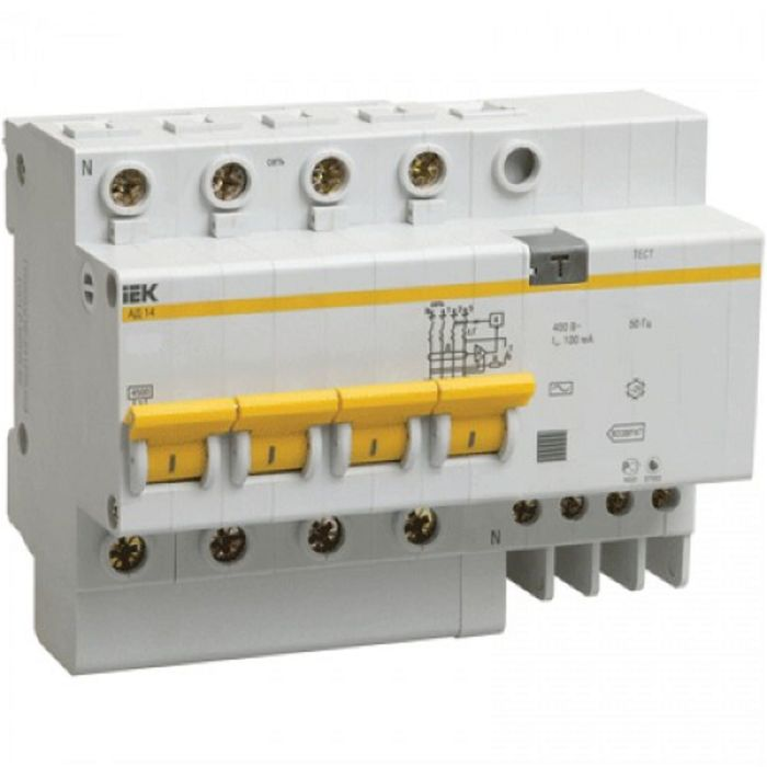 Дифф. автомат IEK, четырехполюсный, 7.5 мод., C 63 А, 30 мА, тип AC, 4.5 кА, АД-14, MAD10-4-063-C-03