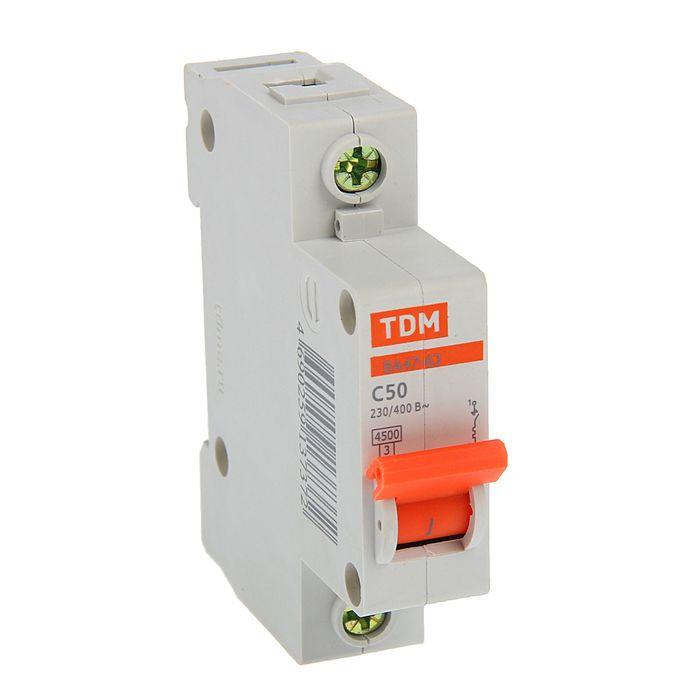 Выключатель автоматический TDM ВА47-63, 1п, 50 А, 4.5 кА