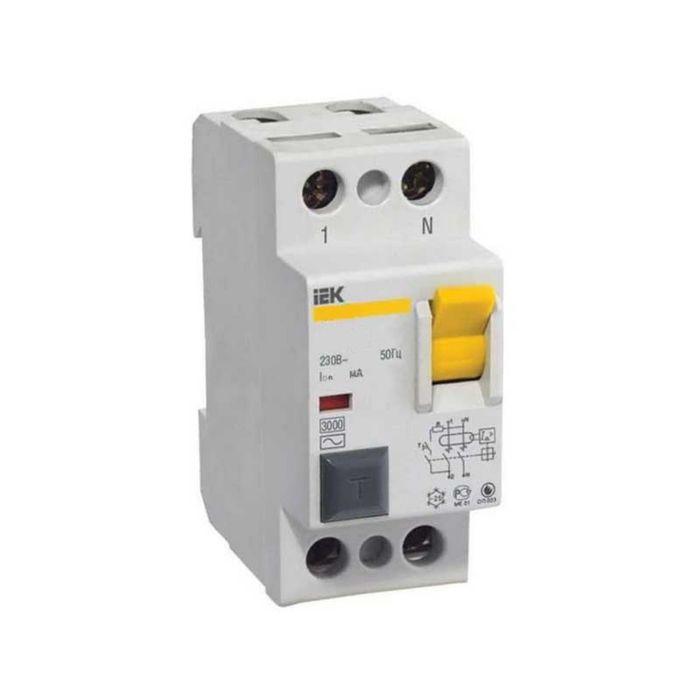 УЗО IEK, двухполюсный, 25 A, 300 mA, тип AC, ВД1-63, MDV10-2-025-300