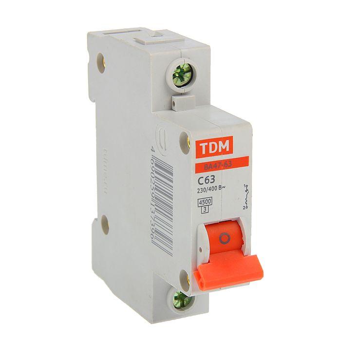 Выключатель автоматический TDM ВА47-63, 1п, 63 А, 4.5 кА