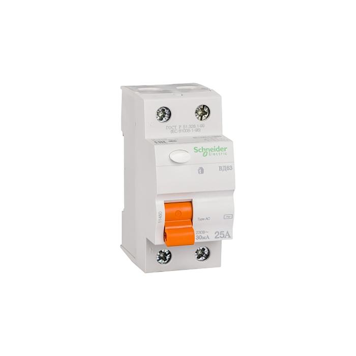 УЗО Schneider Electric серия Домовой ВД63,  2п, 25 А, 30 мА