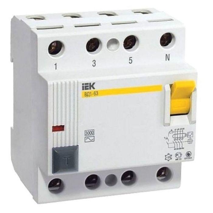 УЗО IEK, четырехполюсный, 100 A, 30 mA, тип AC, ВД1-63, MDV10-4-100-030