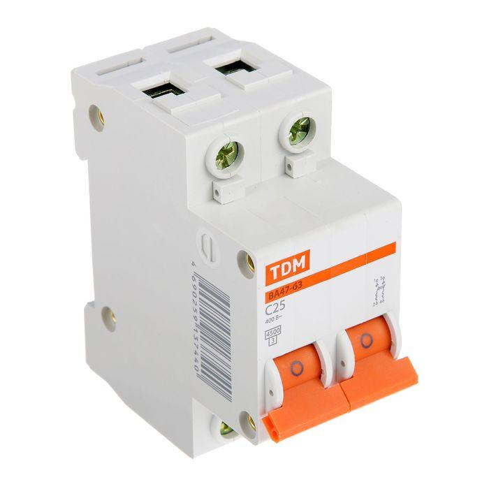 Выключатель автоматический TDM ВА47-63, 2п, 25 А, 4.5 кА
