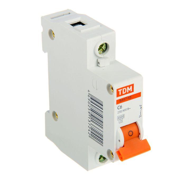 Выключатель автоматический TDM ВА47-63, 1п, 6 А, 4.5 кА, SQ0218-0001