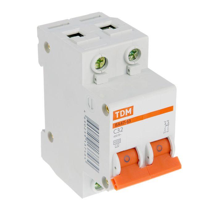 Выключатель автоматический TDM ВА47-63, 2п, 32 А, 4.5 кА