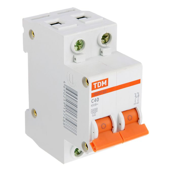 Выключатель автоматический TDM ВА47-63, 2п, 40 А, 4.5 кА