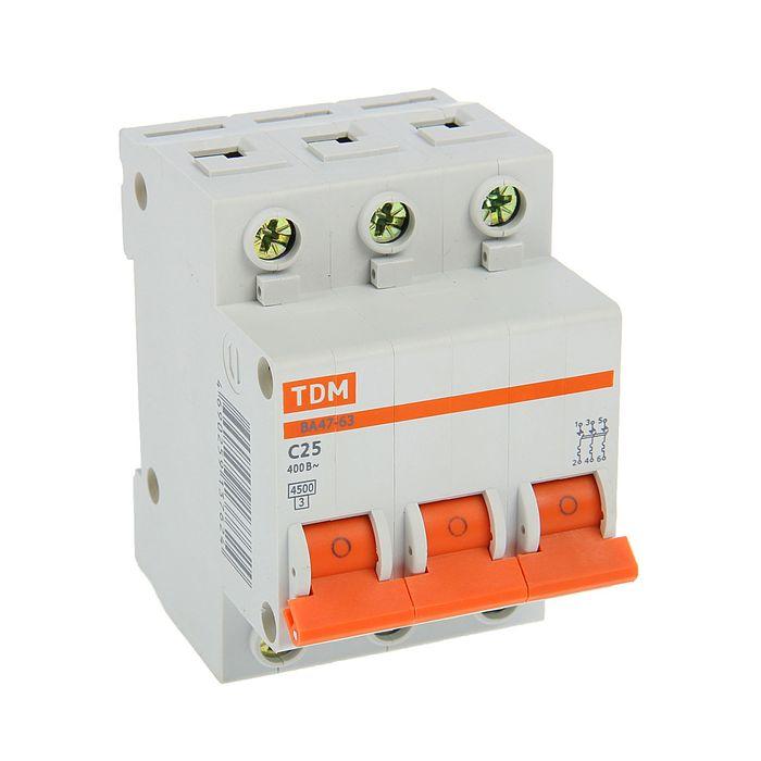 Выключатель автоматический TDM ВА47-63, 3п, 25 А, 4.5 кА