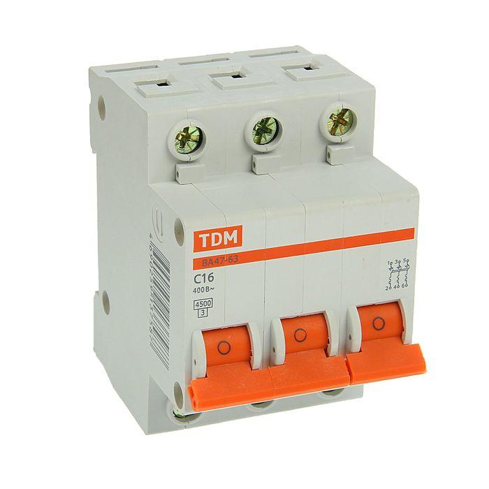 Выключатель автоматический TDM ВА47-63, 3п, 16 А, 4.5 кА